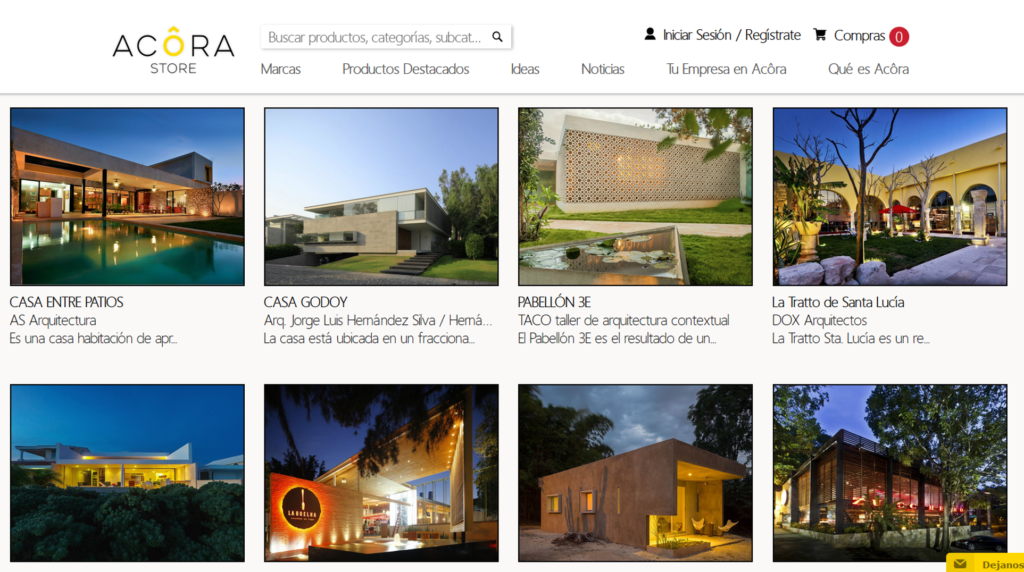 Sección de Ideas en sitio Web de Acora