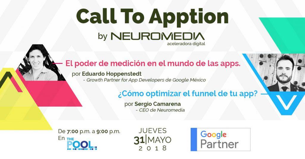Neuromediaconvocó al meetup Call To Apption, que tiene por objetivo crear un entorno de colaboración que fomente el crecimiento del ecosistema de aplicaciones móviles en México.