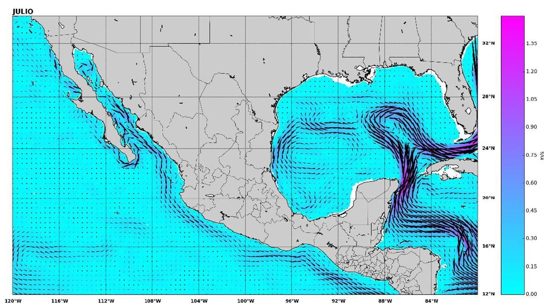Mapeo de corrientes oceanicas con las cuales se desarrollará energía oceánica. Fuente CEMIE.