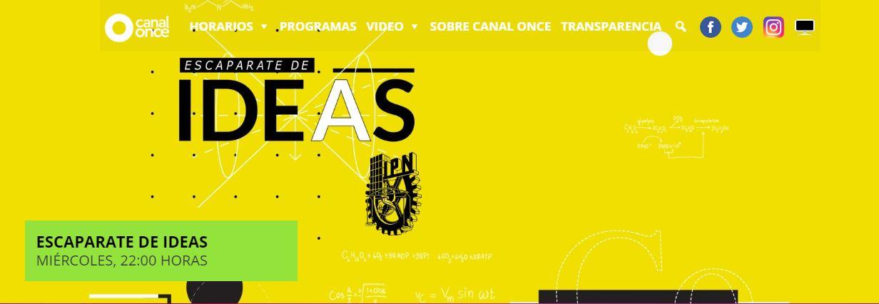 Página de inicio del reality show Escaparate de ideas, organizado por el IPN y canal 11.