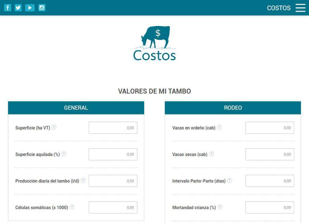"""""""Costos"""" es una app que estima el costo de producción por litro, la rentabilidad y la capacidad de retiro anual en la industria lechera."""