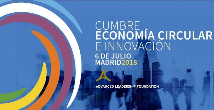 Cartel de la primer Cumpre de Economía Circular e innovación, el 6 de julio de 2018, en Madrid