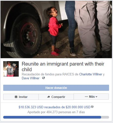 Colecta de fondos en Facebook creada por David y Charlotte Willner
